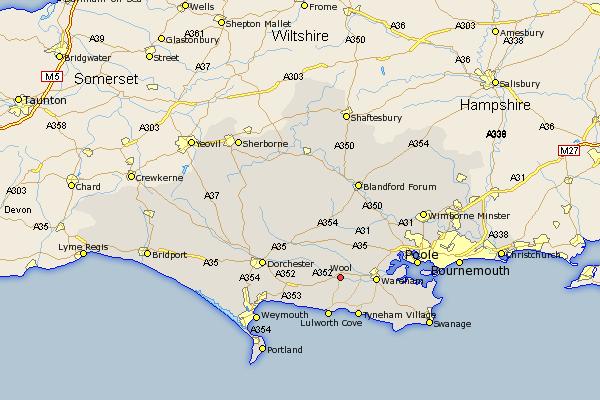 Map Of Uk Dorset.Wool Map Street And Road Maps Of Dorset England Uk England My