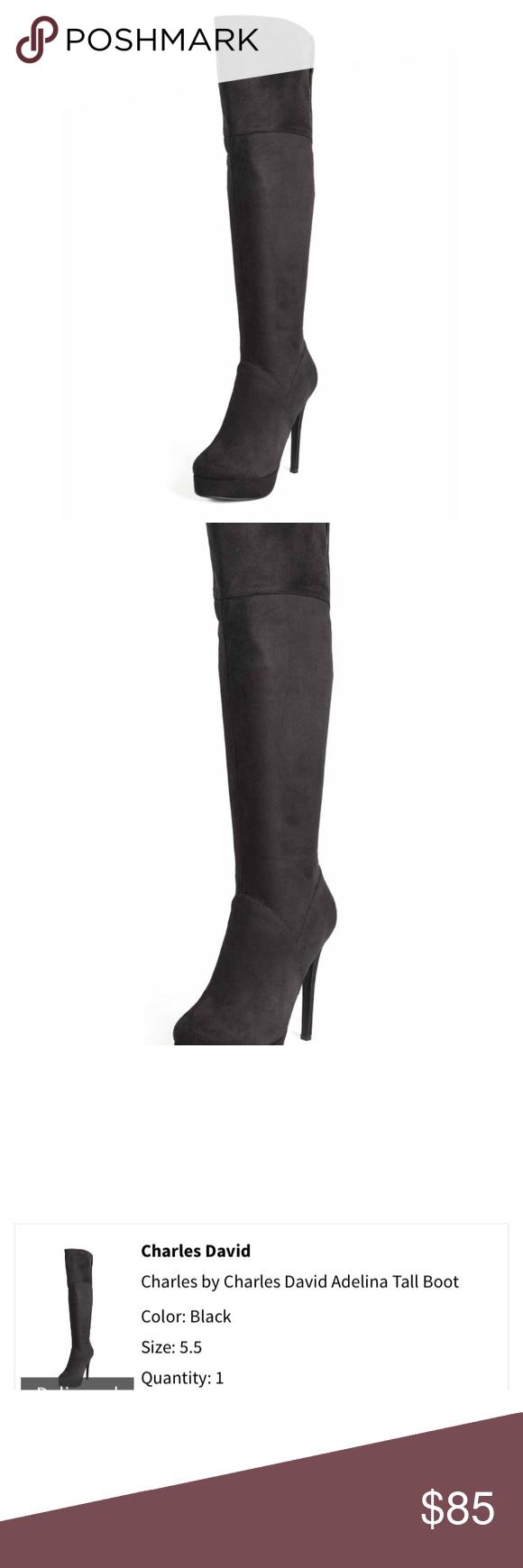 Charles David Suede Heeled Boot Black Charles David Suede Heeled Boot, color black. Excellent condition. Size 5.5 Charles David Shoes Heeled Boots