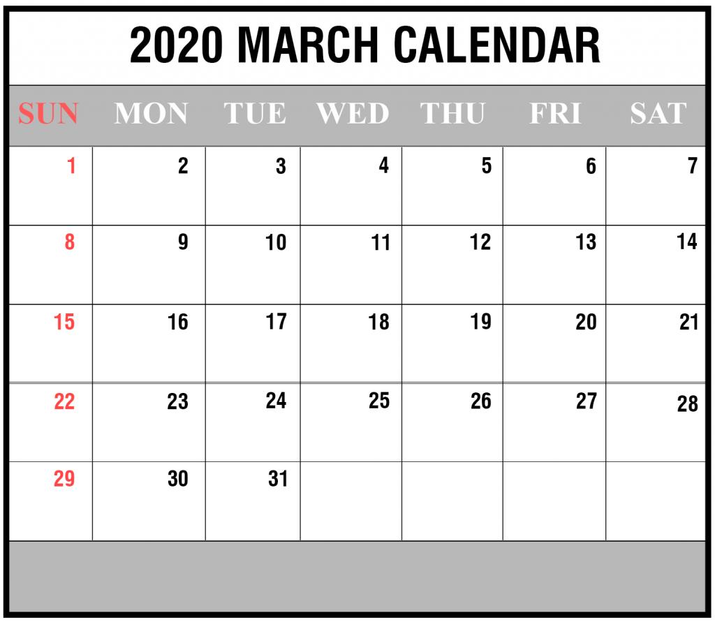 2020 March Calendar Printable Editable Template Blank 4