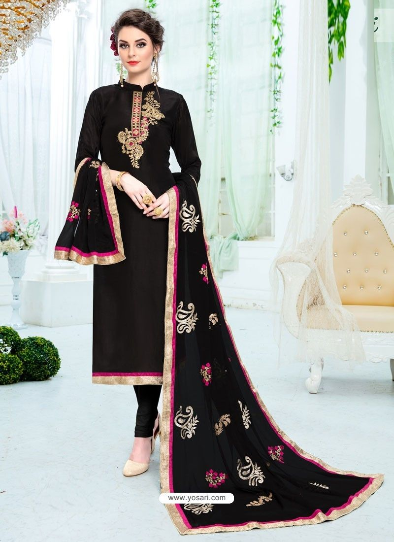 b4c5ce2f85 Black Pure Uppada Silk Embroidered Designer Straight Suit | Straight ...