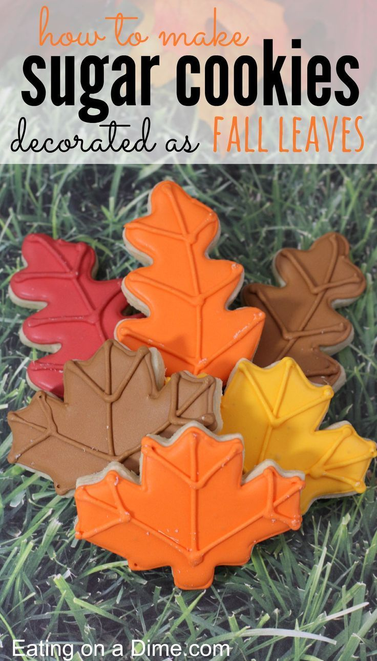 Fall Leaves Decorated Sugar cookies Recipe - Eating on a Dime