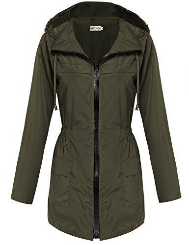 22bfa0ddd Hotouch Womens Lightweight Travel Trench Waterproof Raincoat Hoodie  Windproof Hiking Coat Packable Rain Jacket - https