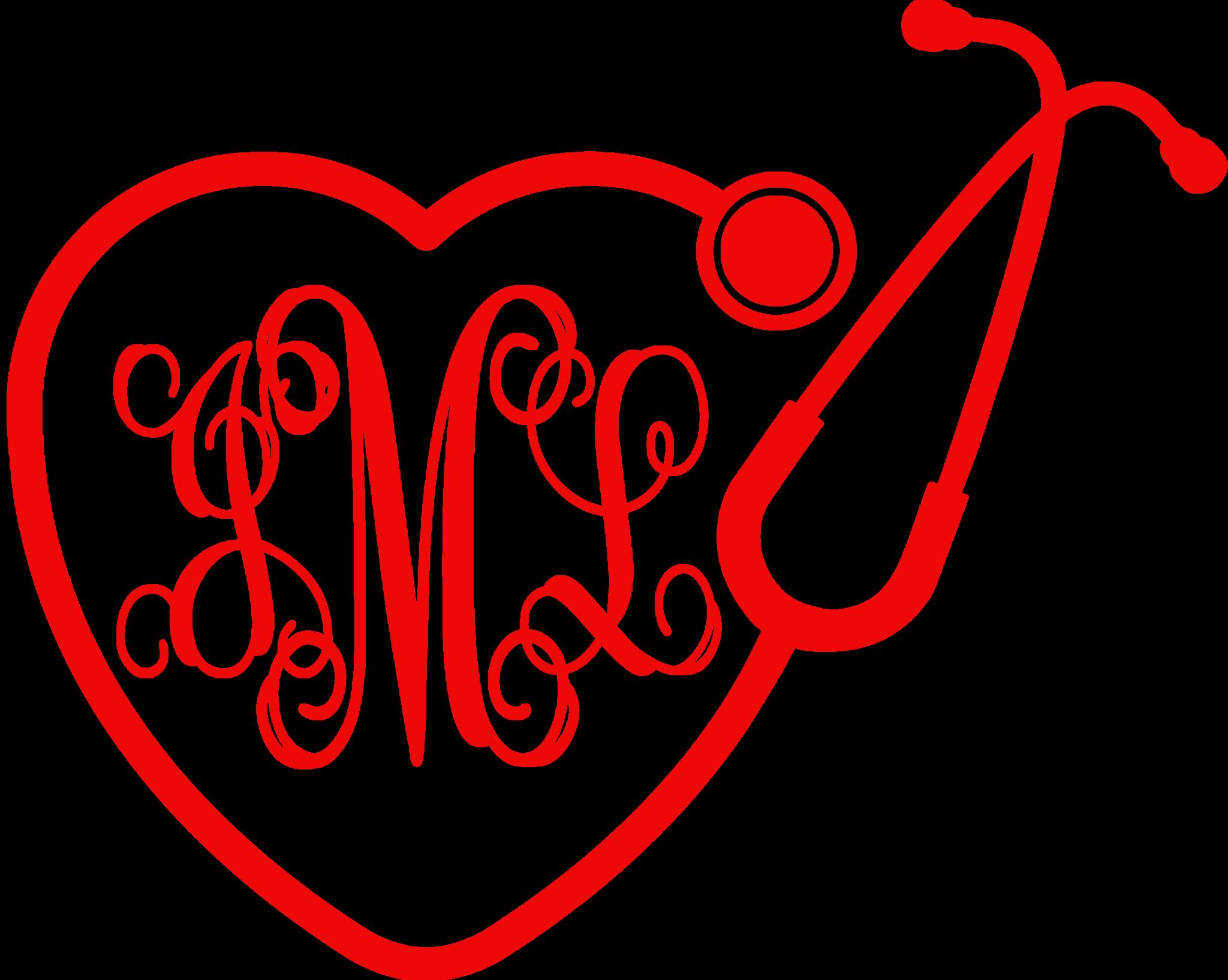 Monogrammed Heart Stethoscope Car Decal Monogram Hearts Car Decals Decals [ 1634 x 2048 Pixel ]
