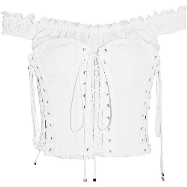 Dolce & Gabbana Off-the-shoulder lace-up cotton-poplin bustier top (18.860 ARS) ❤ liked on Polyvore featuring tops, blouses, white off shoulder top, bustier corset, lace up corset, white off shoulder blouse and white lace up blouse