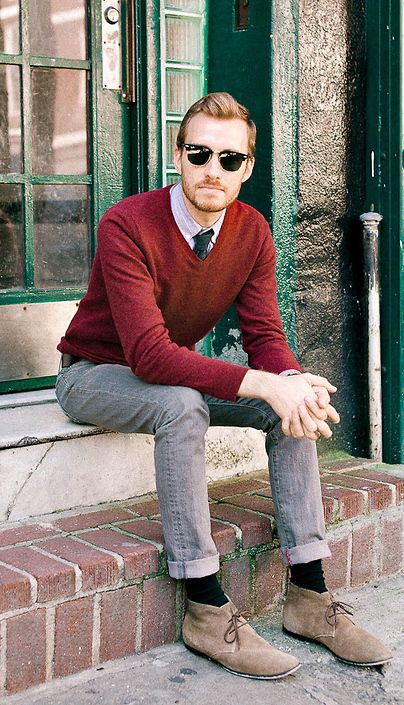 mens fashion, sweater, tie, ray bans, jeans, boots | He, She ...