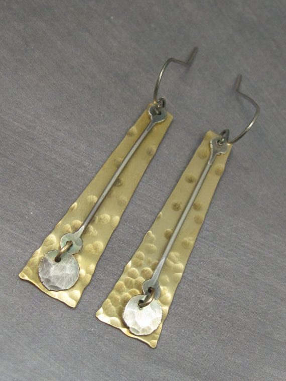 Mixed Metal Graduated Texture Earrings, Long, Bold, Edgy, Hipster, Metalwork, Handmade, Artisan, Dangle, Gift , Brass Version