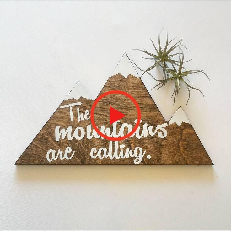 The mountains are calling mountain sign / hiking decor / handpainted sign / cabin decor / #homedecor