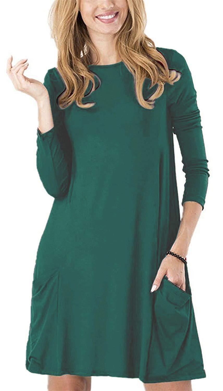 b2c32cdcf7f TINYHI Women s Casual Plain Fit Flowy Simple Swing T-Shirt Loose Tunic Dress