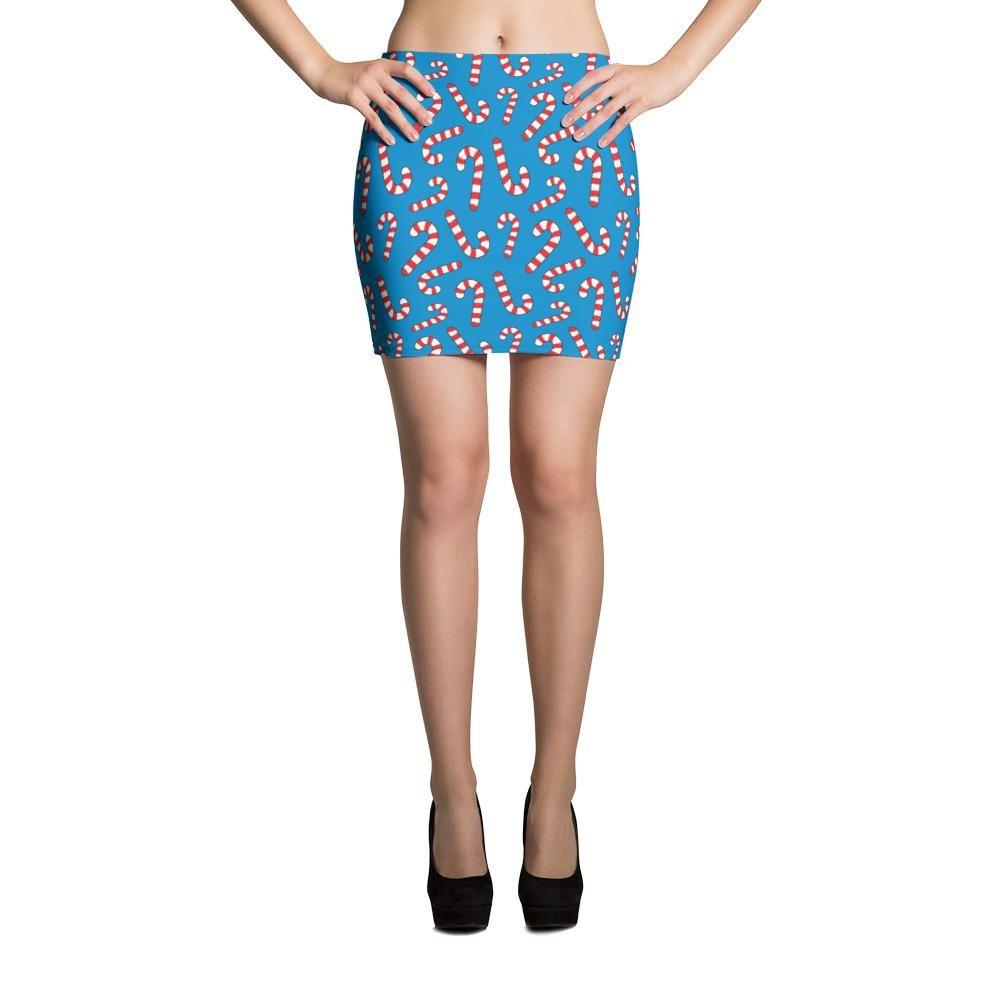 Christmas Cute Candy Cane Mini Skirt