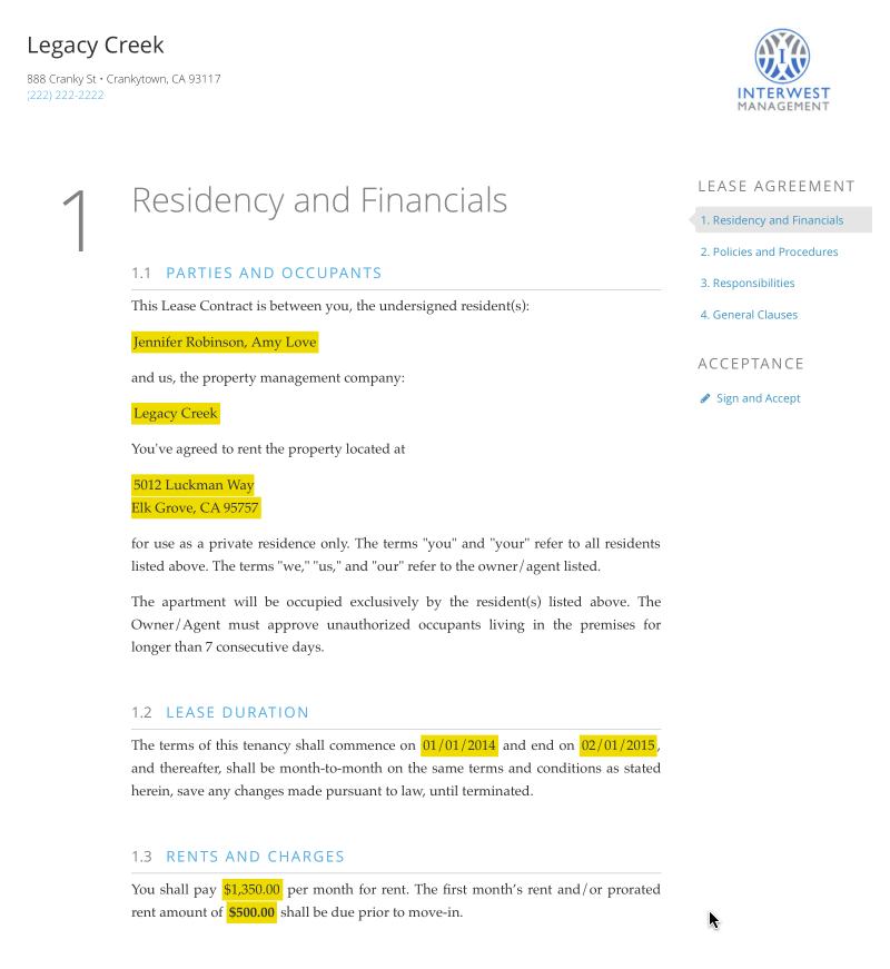 Lease Agreement Template  AppfolioCom  Business