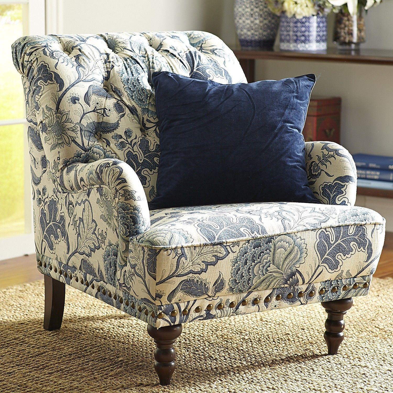 Chas indigo blue floral armchair armchair green velvet