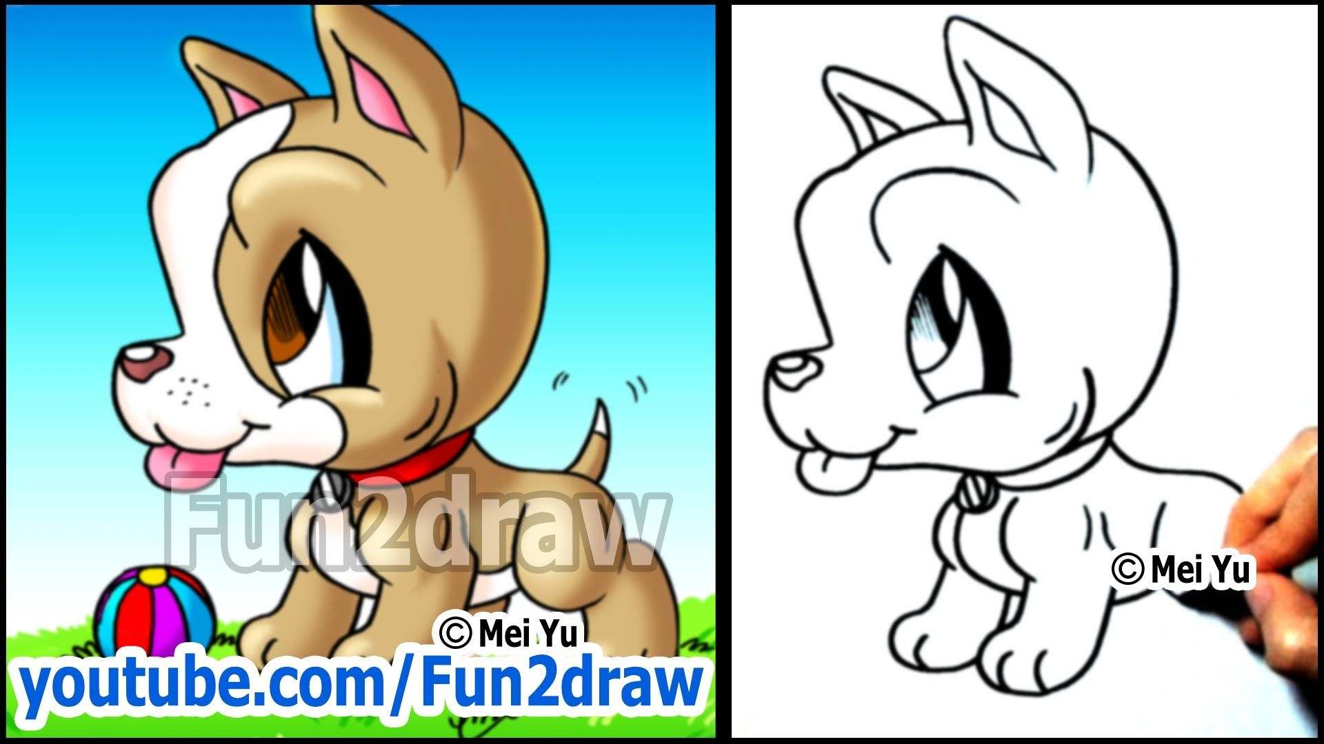 Pitbull Puppy  How To Draw A Dog  Cute Easy Cartoon Tutorial
