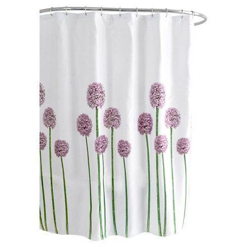 Fabric Floral Shower Curtain Purple Green Splash Home