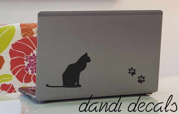 Kitty Cat Laptop Vinyl Decal And Paw Prints Vinyl By Dandidecals - Vinyl decal cat pinterest