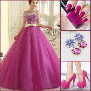 Vestido De Noche Color Fiusha Trajes De Vestidos De Gala
