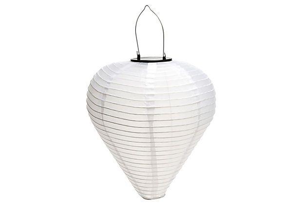 "17"" Solar Cone Lantern, White on OneKingsLane.com"