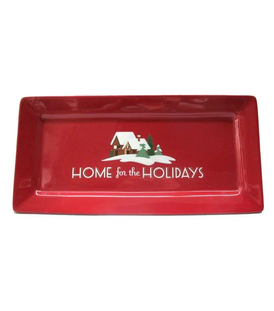 Holiday Inspirations Burgundy Earthenware Rectangular Tray, , hi-res