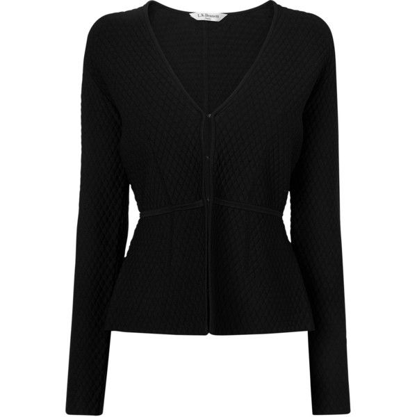 L.K. Bennett Alea Knit Jacket, Black (1.125 BRL) ❤ liked on Polyvore featuring outerwear, jackets, short black jacket, knit jacket, black jacket, short jacket and l.k.bennett