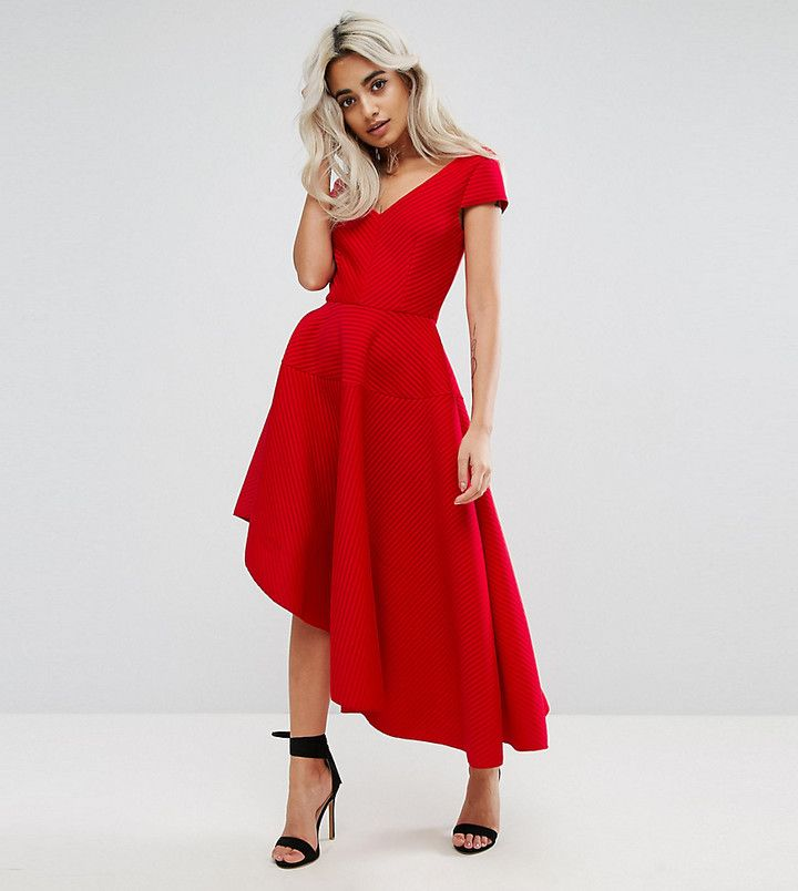 City Goddess Petite Skater Dress With Sweetheart Neck in red ...
