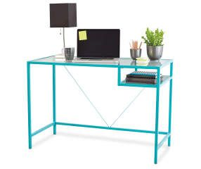 Just Home Aqua Glass Desk Big Lots Glass Desk Aqua Glass Glass Furniture