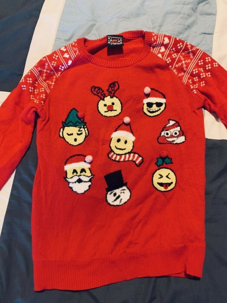 Boys Christmas Holiday Emoji Sweater Red Size L 10 12 Fashion Clothing Shoes Accessories Kidsclothingshoesaccs B Emoji Sweater Red Sweaters Boys Sweaters