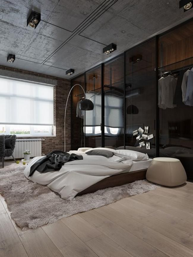 Cool Masculine Bedroom For Mens With Wall Wardrobe Home Decor