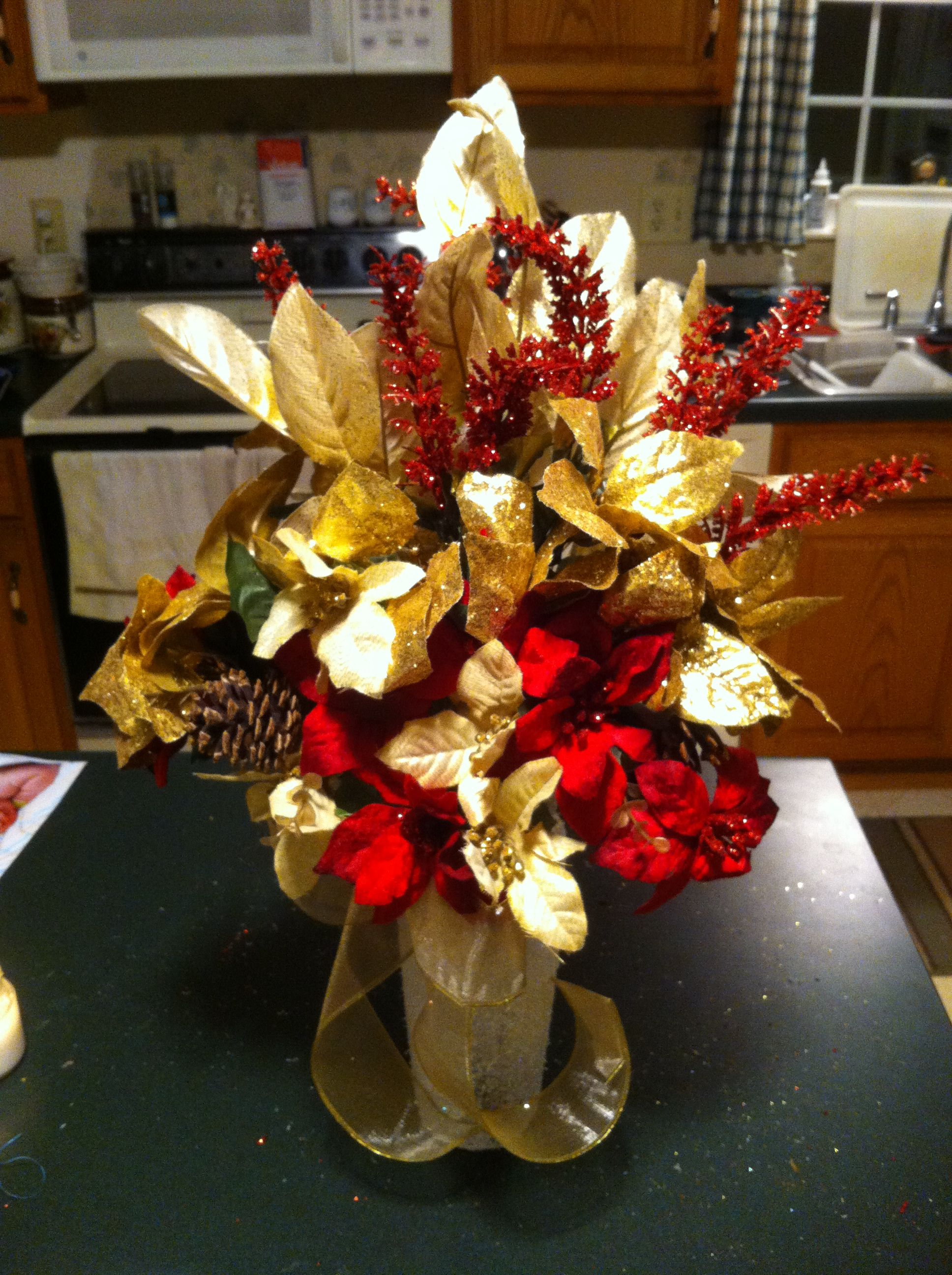 Christmas floral arrangement using dollar tree flowers and