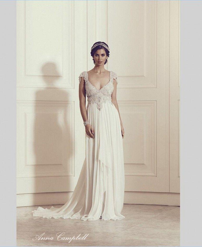 Barato anna campbell vestido de noiva da luva do tampão sexy v