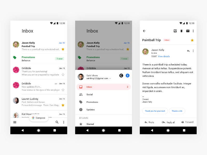 Gmail Redesign More Screens Mobile app, App, Desktop