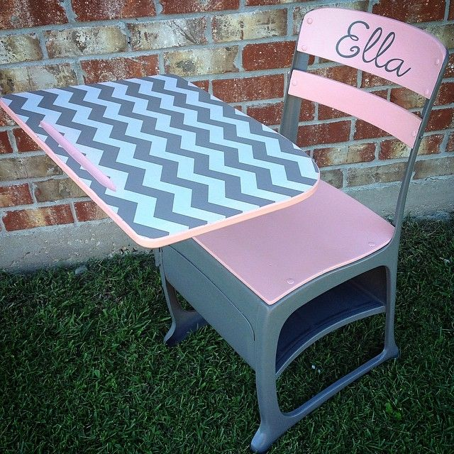 Made Over Pink And Gray Chevron School, Pink Wooden School Desk
