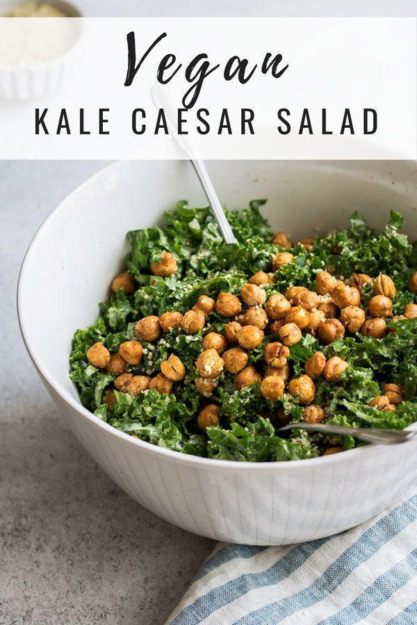 Kale Caesar Salad With Crispy Smoked Chickpeas Vegangluten Free