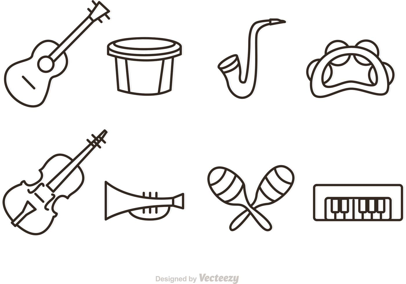 Set of music instrument icons in an outline style