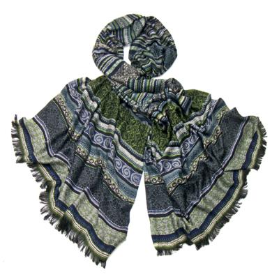 écharpe tissée motifs noir vert Palme http   www.mesecharpes.com ... 86ff87fd8c2