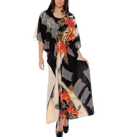 Black Abstract Floral Caftan #zulily #zulilyfinds