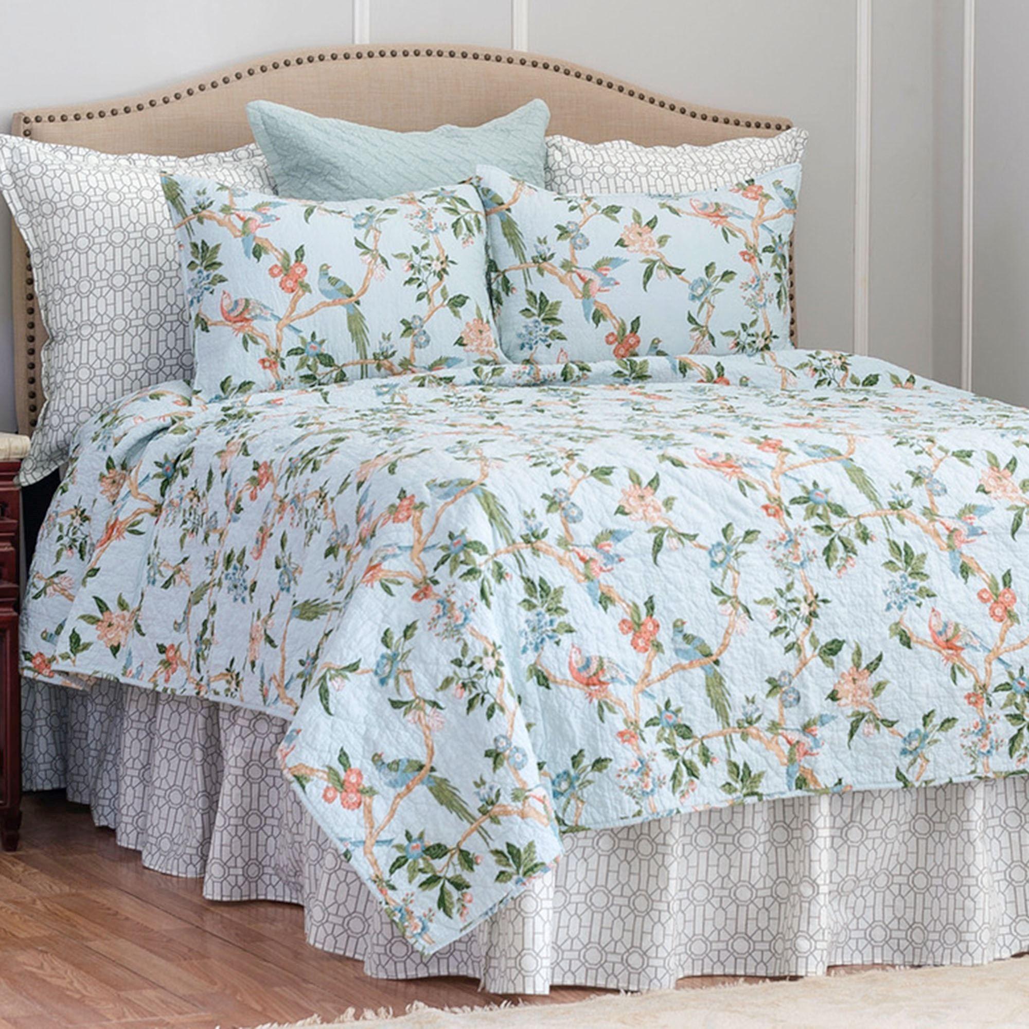 3PCS Double Floral Blue Cotton Quilt Coverlet Bedspread Set Shabby French Chic