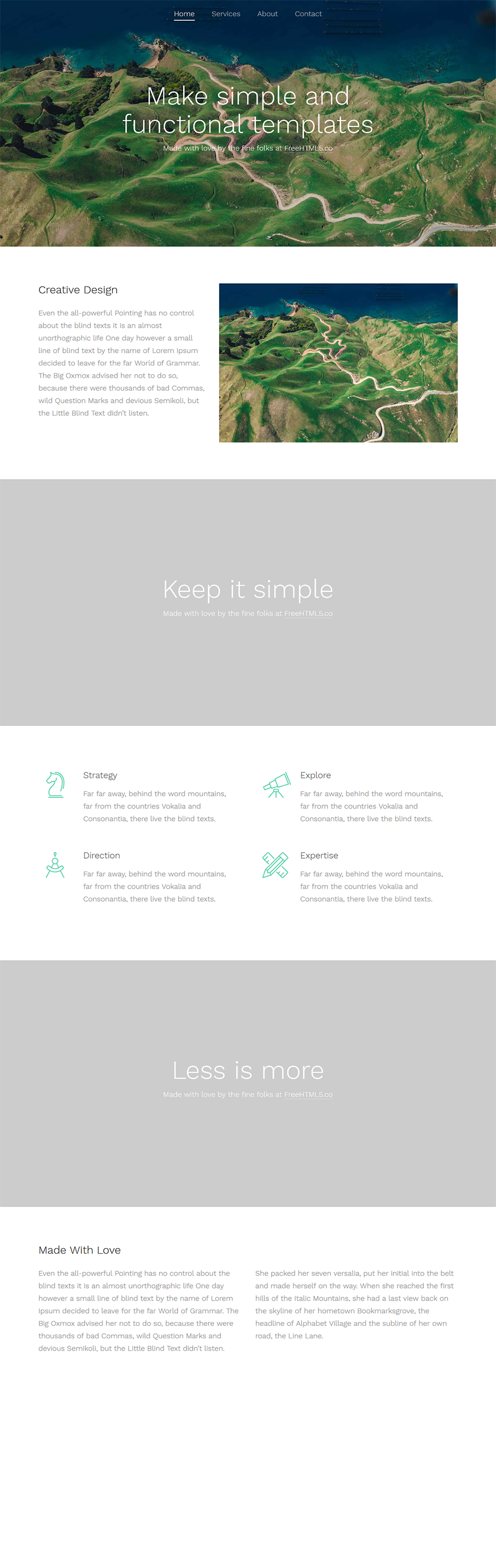 Free One Page Website HTML Template - Simple | Template and Website