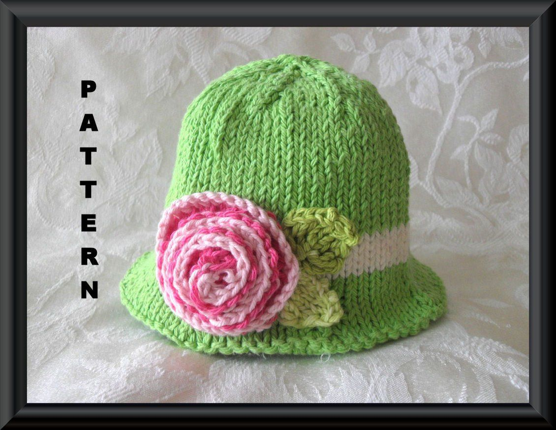 4bc52dc6afe Knitted Hat Pattern Baby Hat Pattern Newborn Hat Pattern Infant Hat Pattern  Knitting Pattern for Brimmed Baby Hat  MULTICOLORED ROSE by CottonPickings  on ...