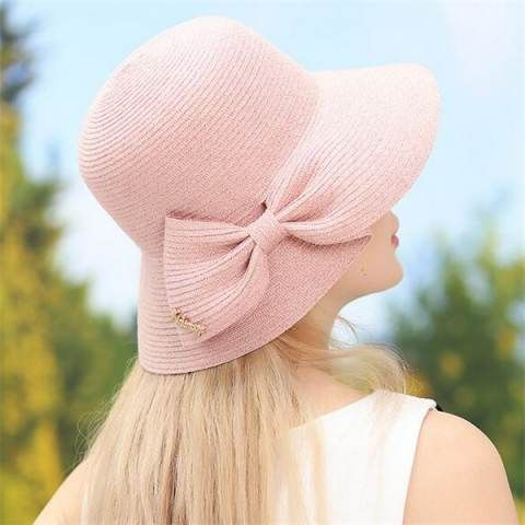 Bow straw hat for women UV protection summer beach sun hats package