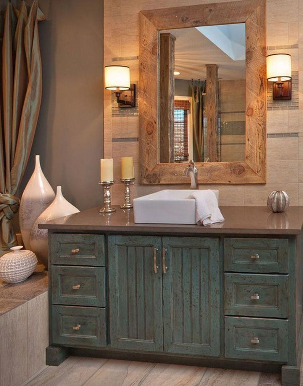 Awesome 49 Lovely Rustic Small Bathroom Remodel Ideas