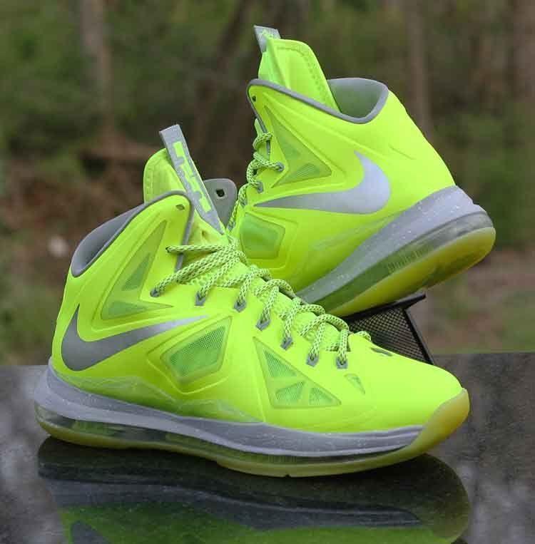 newest 0629d f6b16 Nike LeBron X 10 Volt Wolf Grey Pure Platinum Dunkman 541100-700 Men s Size  9