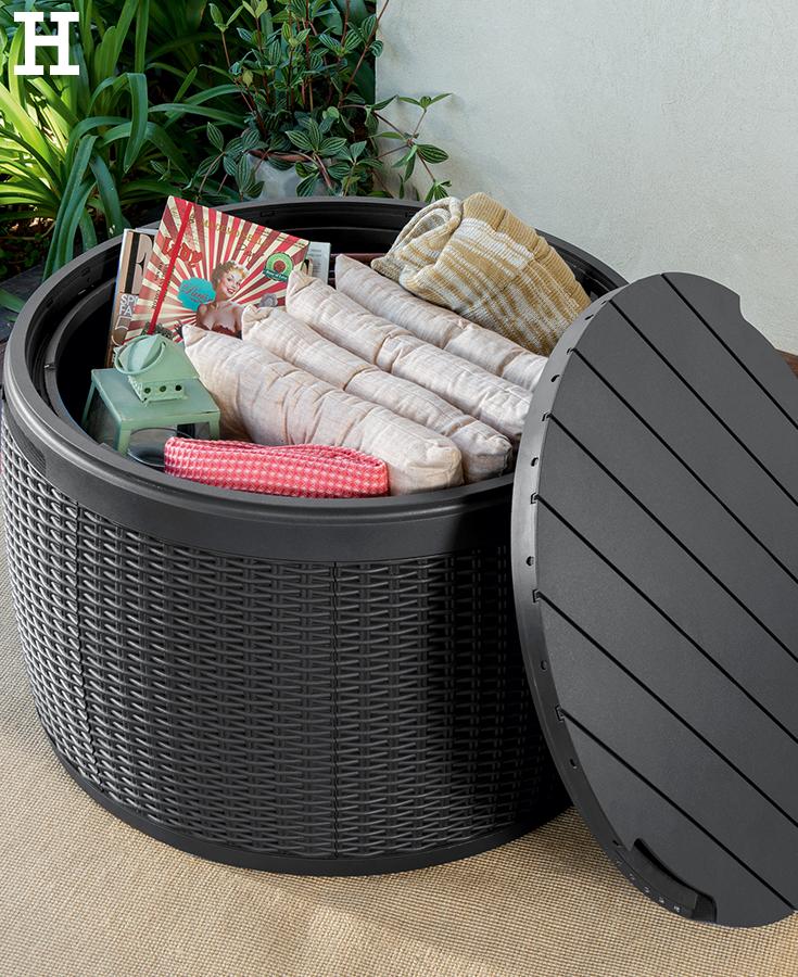 stauraum f r den garten oder den balkon bringt eine praktische aufbewahrungsbox garten. Black Bedroom Furniture Sets. Home Design Ideas
