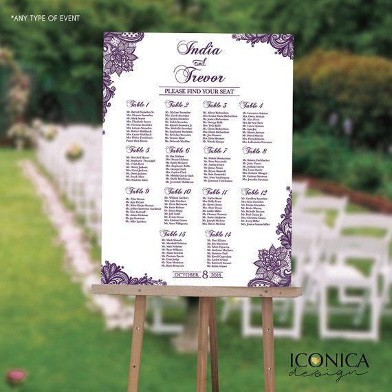 Wedding Seating Chart Board Elegant Purple LACE Printable - Printed ...