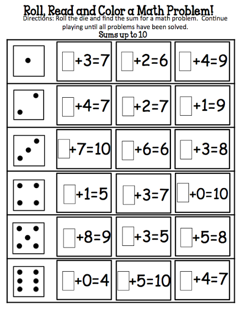 Roll And Solve The Missing Addend Kindergarten Math