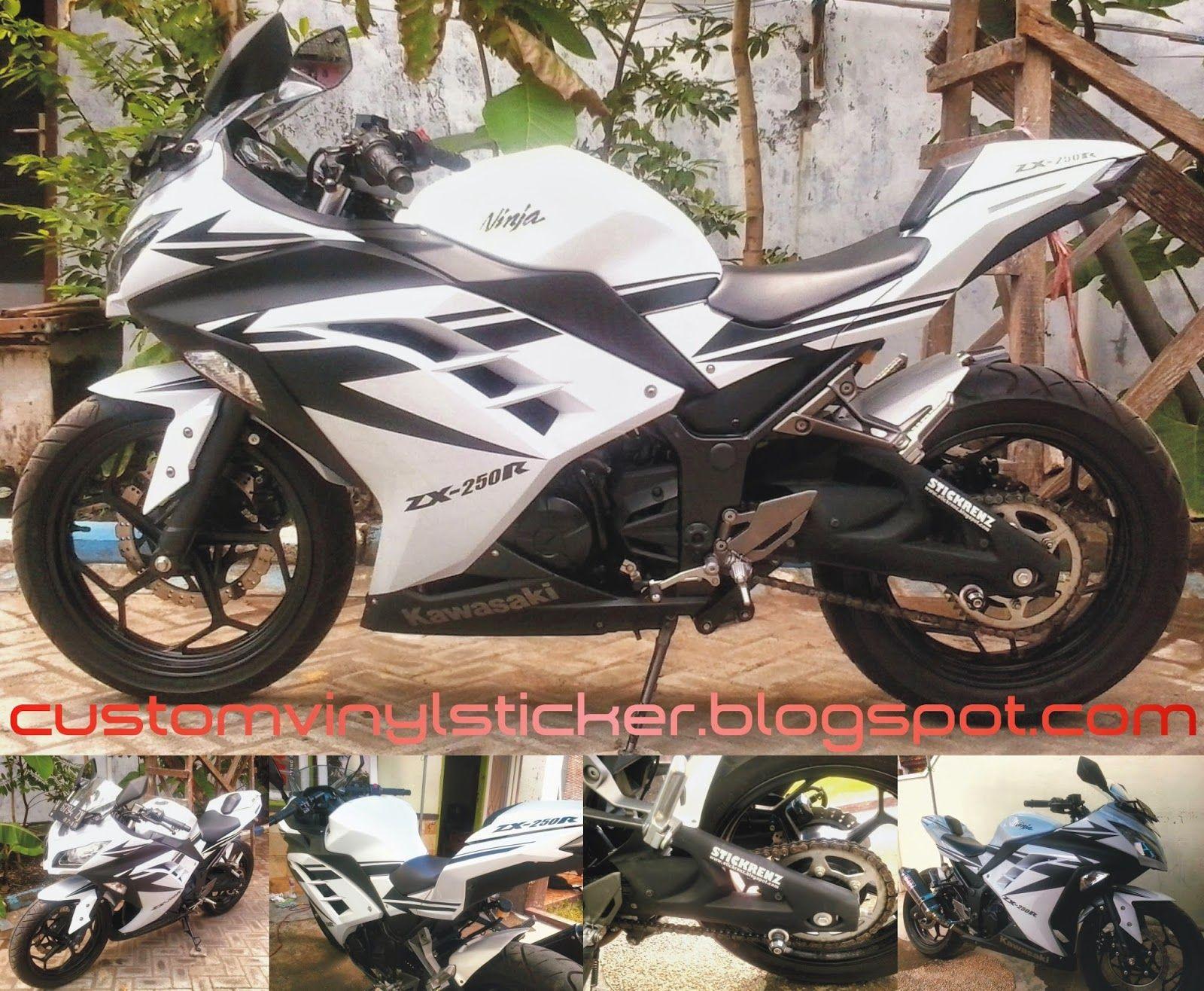 Design sticker ninja 250 -  Kawasaki Ninja 250 F1 White Black Mate Arrow Sticker