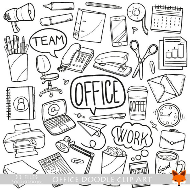 OFFICE, doodle vector icons. Work Items Objects Doodle
