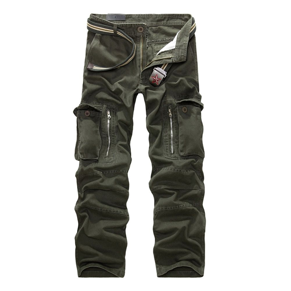 Mens Cargo Trousers Cotton Work Casual Overalls Baggy Loose Sports Long Pants