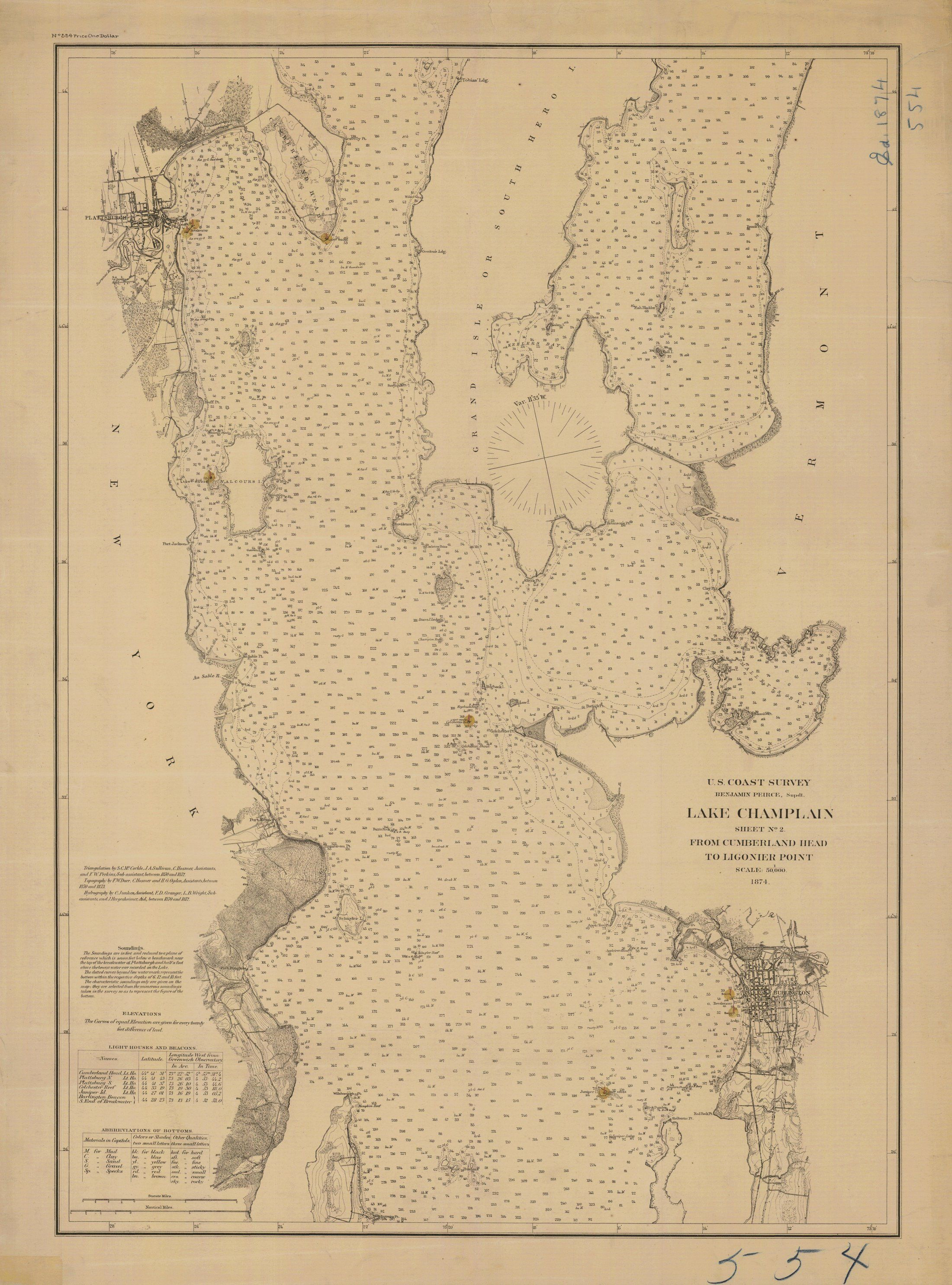 18 X 24 Inch 1874 Vermont Old Nautical Map Drawing Chart Of Lake - Us-coast-and-geodetic-survey-maps