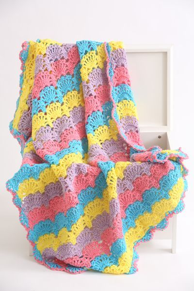 Fiesta Crochet Shell Stitch Afghan Just Look At All These Colors