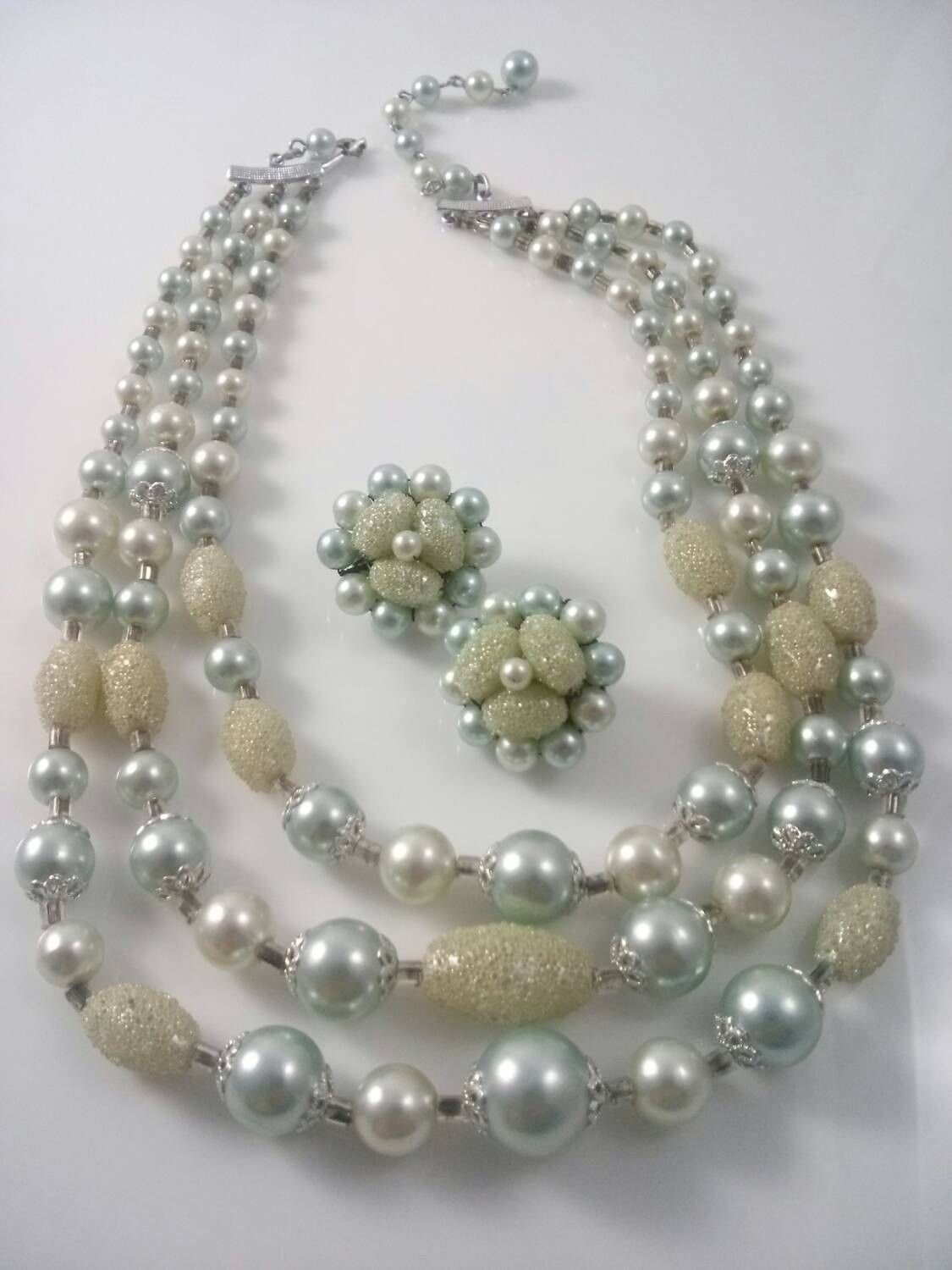 Vintage Demi Parure Necklace and Earring Set Triple Strand Light Blue Grey and Cream Sugar Beads