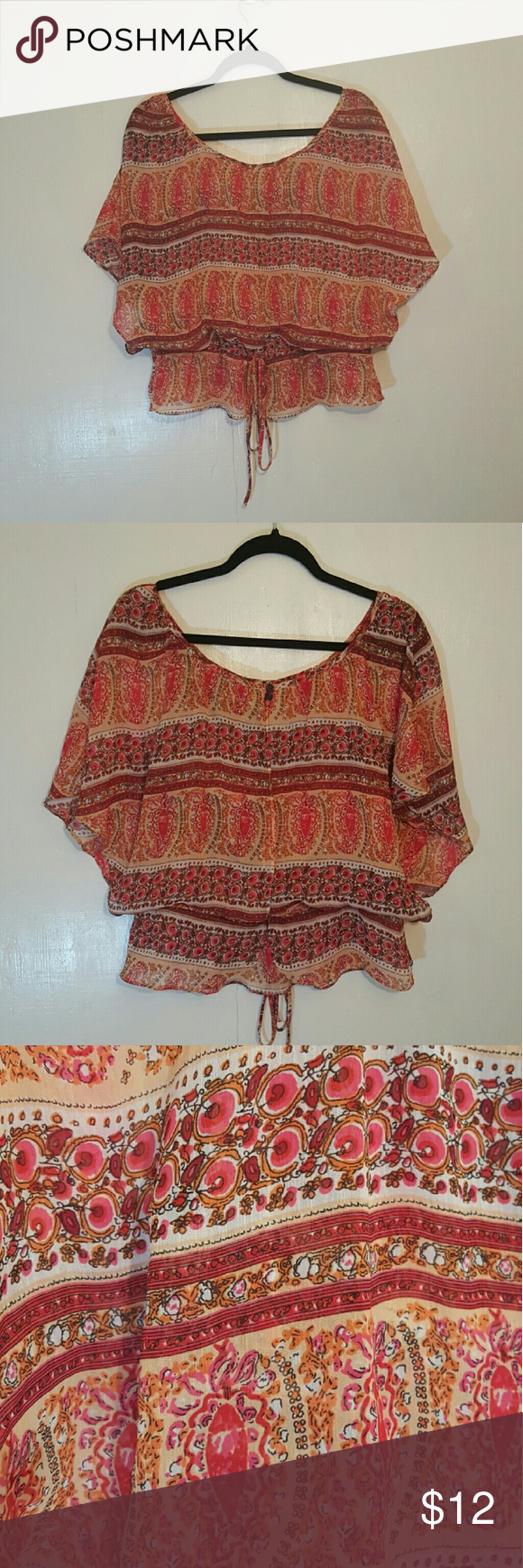 Flowing Summer Blouse Loose fitting blouse. Sinched belted waist. Pink, orange and burgandy. Perfect for hot summer days! Grass Collections Tops Blouses